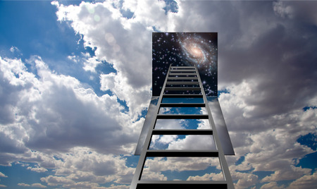 corporate ladder: Ladder into hole in heaven