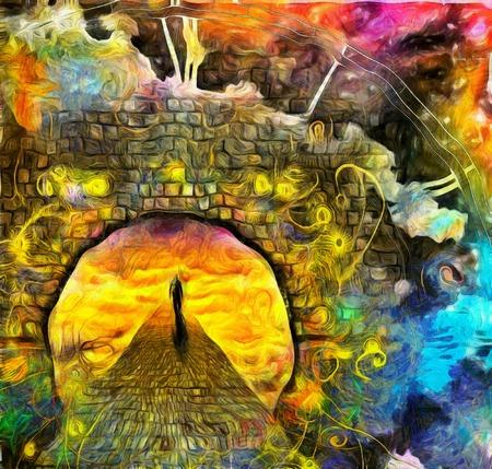 Man journeys through doorway of time