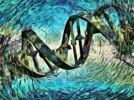 DNA Strand Artwork Stock Photo