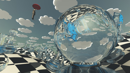 hovering: Surreal Chess Landscape with hovering man