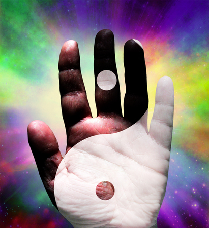 mysticism: Yin Yang Hand with Stars
