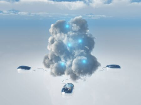storage device: Cloud Computing Concept with Multiple Computer Mice and Cords leading into 3D Rendered Cloud Stock Photo