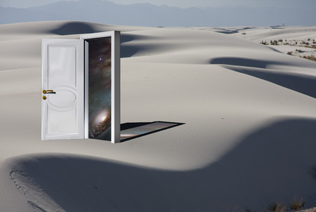 Doorway with Cosmos in White Sand Desert Фото со стока - 46691615