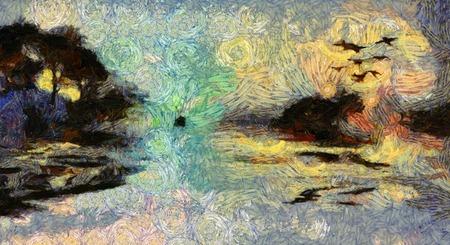 鮮やかな夕日や日の出島の絵画を旋回 写真素材