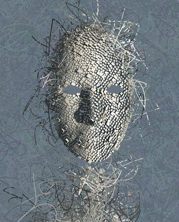 多くのワイヤーでシュールなマスク抽象 写真素材