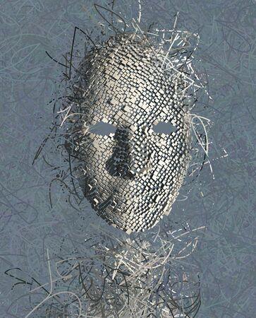cuadros abstractos: RESUMEN Máscara surrealista con muchos alambres
