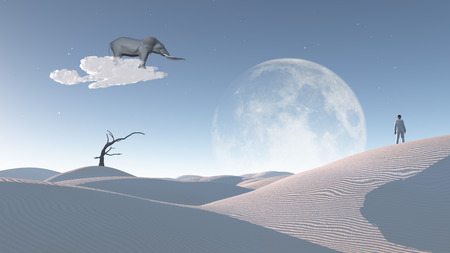 float cloud: Elephant float on cloud in surreal landscape with observing man