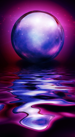 diviner: Crystal Sphere in vivid hues and reflections Stock Photo