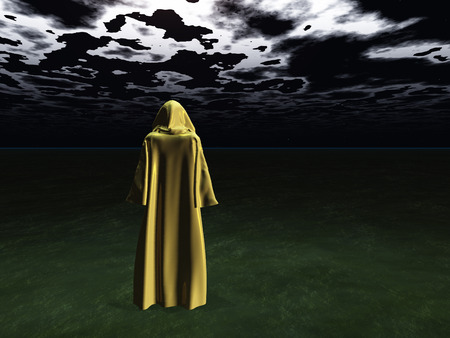 the end of the world: Cloaked Man before the darkness
