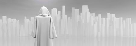 caped: Robed Traveler before the pure city Stock Photo