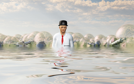 inventor: Man with large ideas surrounding him in the form of classic lightbulbs In flooded Landscape