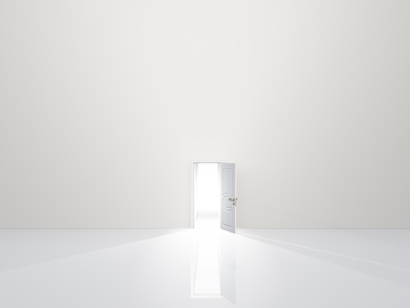 beyond: Single door in pure white space emaits light Stock Photo