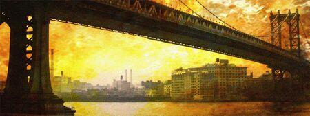 span: NYC Bridge Painting Stock Photo