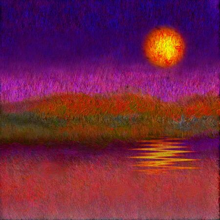 pictorial art: Painted Abstyraction SUnset or Sunrise Stock Photo