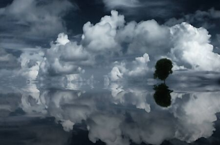 dream lake: Clouds, tree and reflecting water