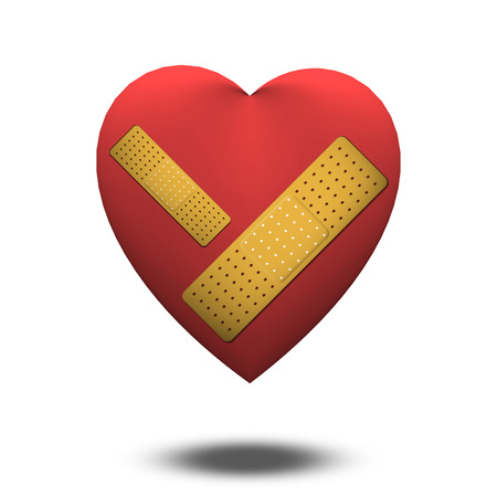 mended: Wonded Heart with Bandage Stock Photo