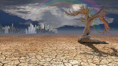 desolation: Desert City in distance Stock Photo