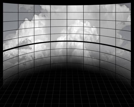 multi media: Large Screens with Clouds Stock Photo