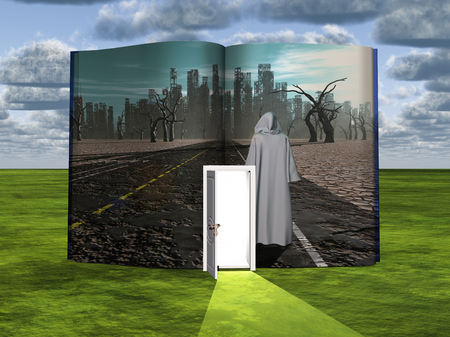 scary story: Book with science fiction scene and open doorway of light Stock Photo