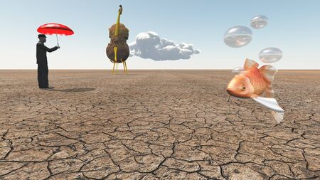 waterless: Man and oversized cello with floating fish in desert