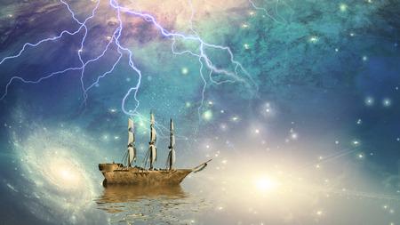 flying boat: Sailing ship sails through the stars Stock Photo