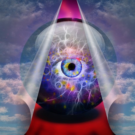 soothsayer: Crystal Ball reveals eye Stock Photo