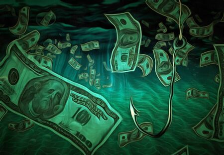 allurement: Fish hook in currency filled water