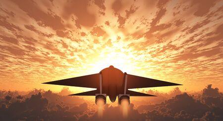 avion de chasse: Jet militaire en vol Aube ou crépuscule