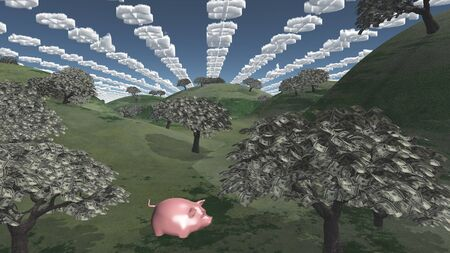 tress: Tress of currency and dollar symbol clouds