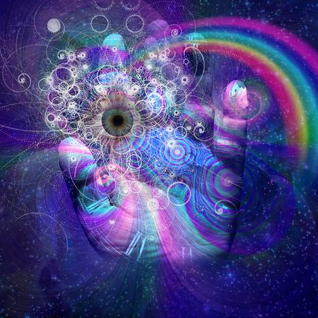 concept magical universe: Hand eye design