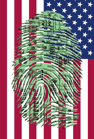 circuitry: Circuitry finger print over US Flag