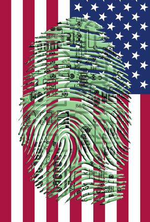 Circuitry finger print over US Flag
