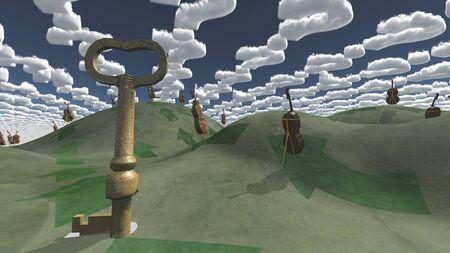 unreal unknown: Giant key dominates fantasy landscape