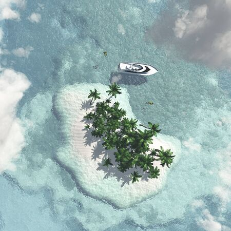 sea view: Tropical Island with Boat from Above Stock Photo