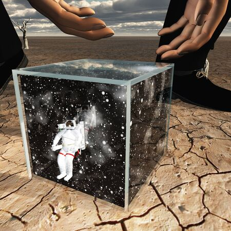 mysterious: Human about to pick up box containing astronaut and space Stock Photo