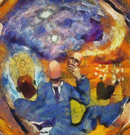 Surreal Abstract with Human figures in suit Banque d'images