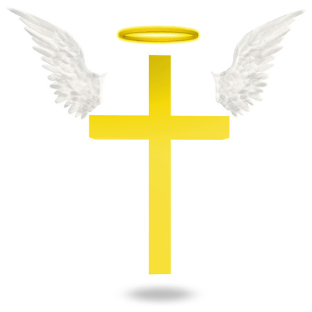 christian cross and wings: Cross with wings an halo