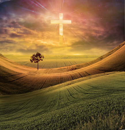 Cross radiates light in sky over beautiful landscape Imagens