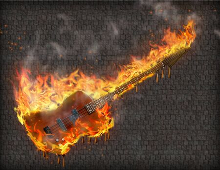 Guitar in flames before grungy stone wall
