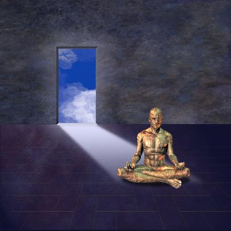 electronic: Electronic man meditates Stock Photo