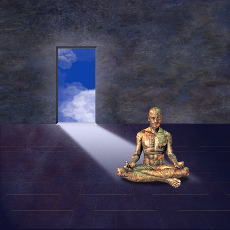 man meditating: Electronic man meditates Stock Photo