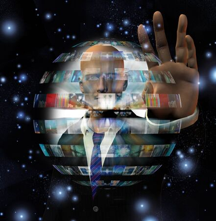 background information: Man and video sphere
