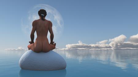 nue plage: Femme médite assis sur la pierre dans l'eau calme