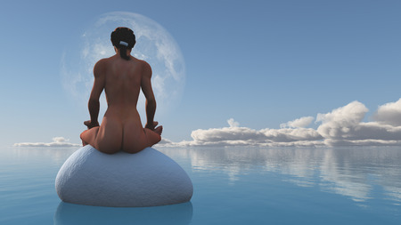 nude nature: Woman meditates sitting on stone in still water Stock Photo