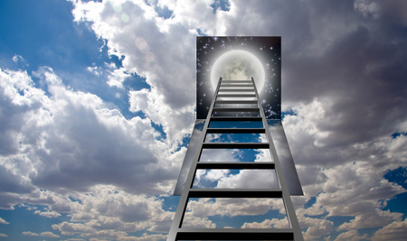 heaven background: Ladder into hole in heaven