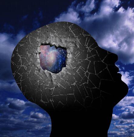 mente humana: Agujero en la cabeza abierta al espacio