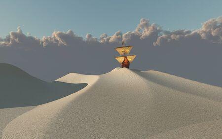 사막에서 선박 스톡 콘텐츠