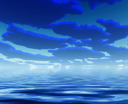 Blue water: Deep Blue Clouds and water