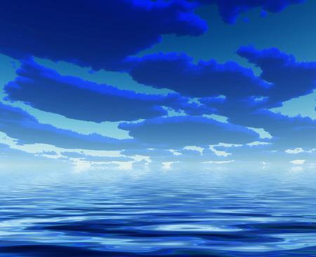 Nuages ??un bleu profond et l'eau Banque d'images - 47790929