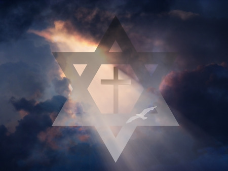 religious backgrounds: Cross inside Star of David in Sky